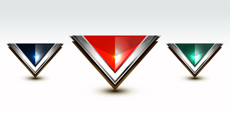 crystal button: set of crystal button triangle, vector illustration