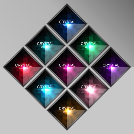 crystal button: set of crystal square button, vector illustration