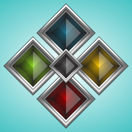 square button: set of rectangle button, vector illustration