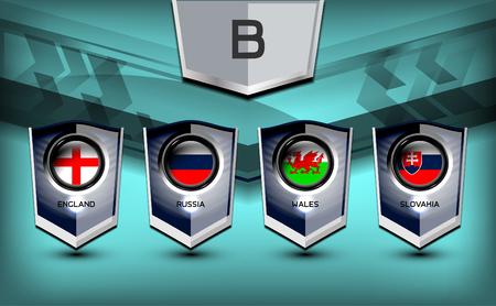 group b: Soccer Group B Team Flags of European, Vector Illustration Illustration