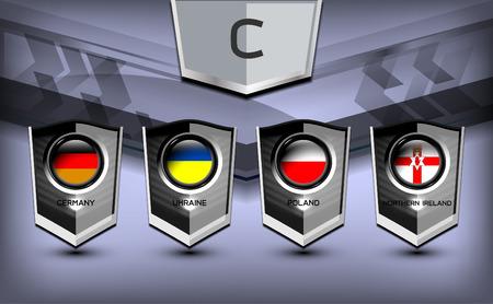 Soccer Group C Team Flags of European, Vector Illustration