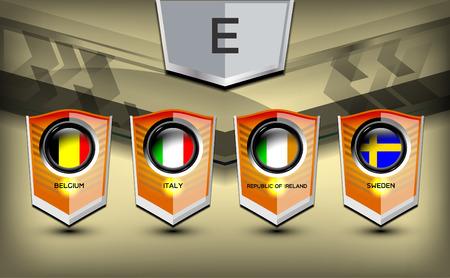 soccer team: Soccer Group E Team Flags of European, Vector Illustration