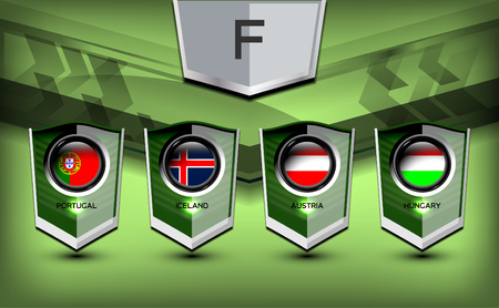 Soccer Group F Team Flags of European, Vector Illustration