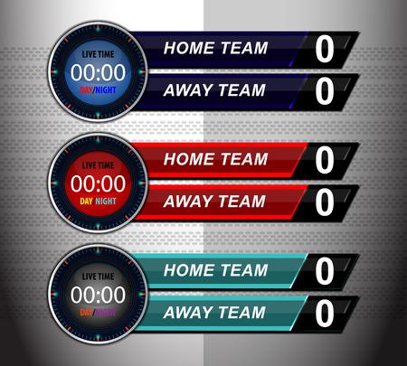 scoreboard timer: scoreboard timer template design for football soccer, illustration