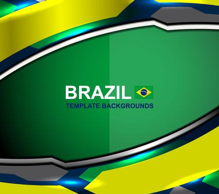 flag template: brazil flag template backgrounds, vector illustration