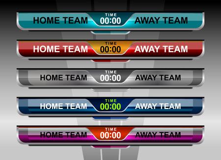 scoreboard elements design for football and soccer, vector illustration Illustration