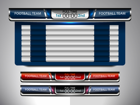 scoreboard broadcast design for football and soccer, vector illustration