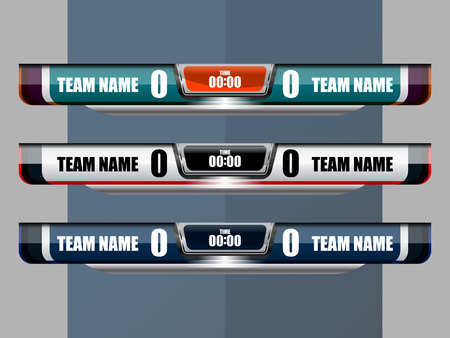 Score Broadcast Graphic Template for soccer and football, vector illustration 일러스트