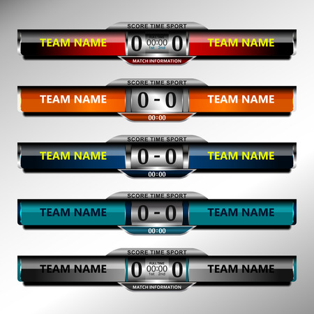 scoreboard elements design for football and soccer, vector illustration Illustration