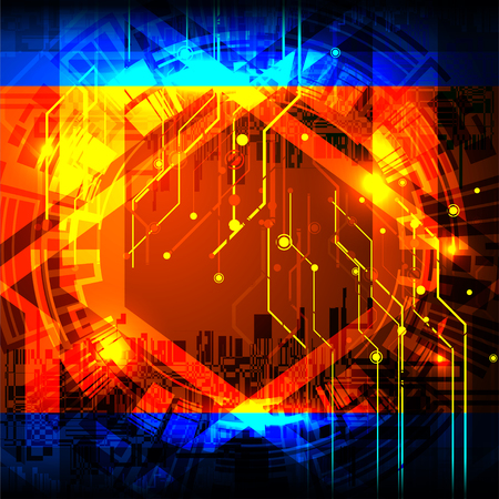 cyber digital technology concept on circuit board background, vector illustration 向量圖像
