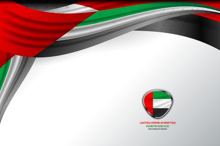 Bandera de los Emiratos Árabes Unidos para el Día de la Independencia y otros eventos. Ilustración de vector