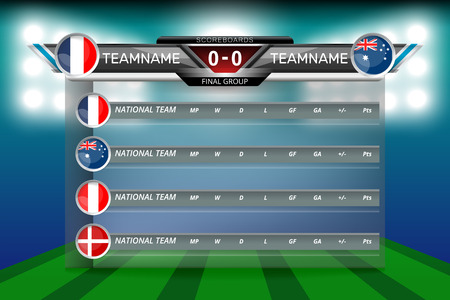 Vector illustration graphic of scoreboard broadcast and lower thirds template with group table for soccer world tournament championship.