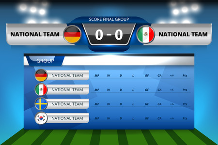 Vector Illustration Graphic of Scoreboard Broadcast and Lower Thirds Template with group table for soccer world tournament championship Reklamní fotografie - 96967421
