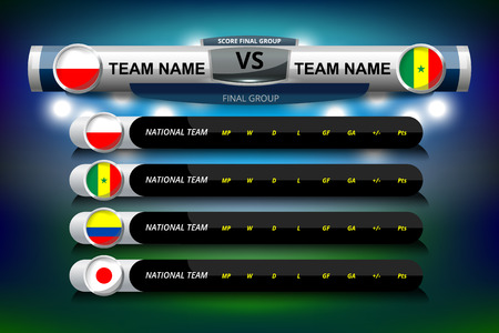 Vector Illustration Graphic of Scoreboard Broadcast and Lower Thirds Template with group table for soccer world tournament championship