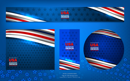 Flag of USA background for independence, veterans, labor, memorial day and other events, Vector illustration Design