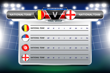 A Vector Illustration Graphic of Scoreboard Broadcast and Lower Thirds Template with group table for soccer world tournament championship