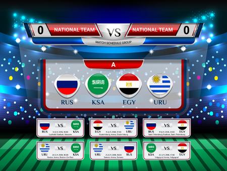 Abzeichen Satz der Nationalflaggengruppe mit Anzeigetafel-Sendung und Spielplan für Fußball-Weltmeisterschaft 2018, Vektorillustration