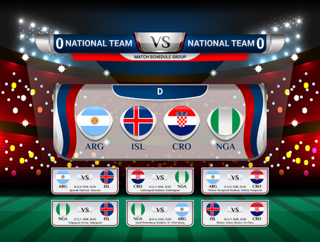 Badges Set of National Flag Group with Scoreboard Broadcast and match schedule for world soccer championship 2018 in Russia, Vector illustration