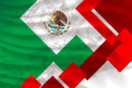 Fondo della bandiera del Messico per il giorno dell'indipendenza e altri eventi, illustrazione vettoriale