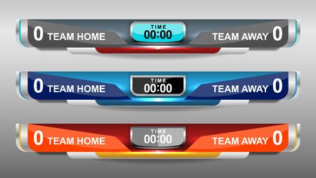 scoreboard elements design for football and soccer, vector illustration Ilustração