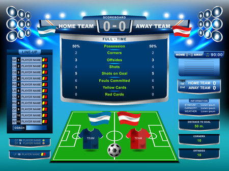 Scoreboard Broadcast Graphic and Lower Thirds Template for soccer and football, vector illustration