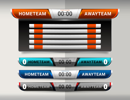 Scoreboard Broadcast and Lower Thirds Template for sport soccer and football Vektorové ilustrace