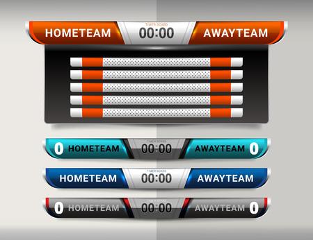 Scoreboard Broadcast und Lower Thirds Template für den Sport Fußball und Fußball Vektorgrafik