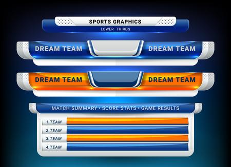 Plantilla de transmisión de marcador y tercios inferiores para fútbol deportivo y fútbol americano Ilustración de vector