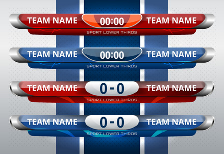 Scoreboard Broadcast and Lower Thirds Template for sport soccer and football 向量圖像