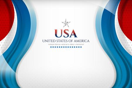 USA background for independence, veterans, labor, memorial day and other events, Vector illustration Design Ilustração