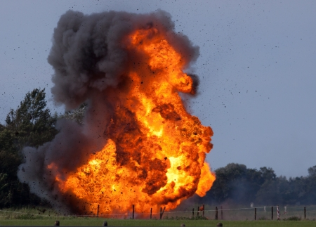 Explosion with flying debris Stock Photo - 13793133