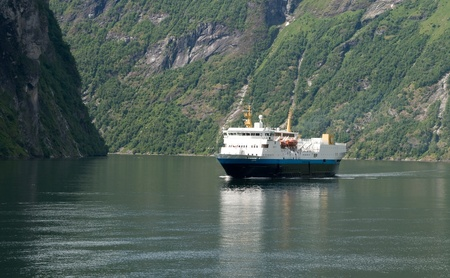 Ferry in a fjord  Stock Photo - 13796033