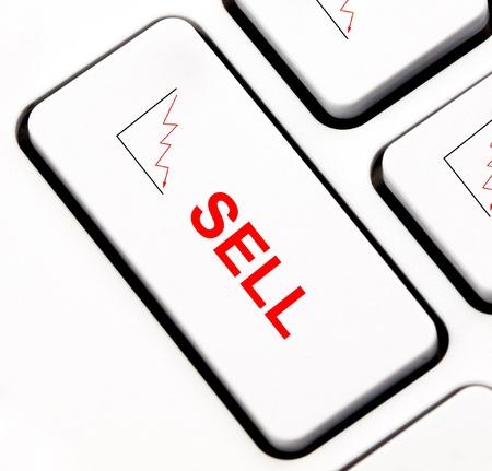 Stock market sell keyboard key photo