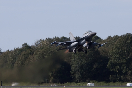 LEEUWARDEN,FRIESLAND,HOLLAND-SEPTEMBER 17: F-16 taking off at the �Luchtmachtdagen� Airshow on September 17, 2011 at Leeuwarden Airfield,Friesland,Holland
