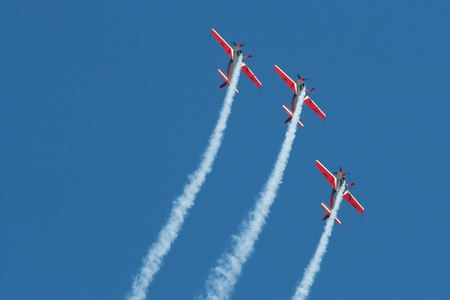 leeuwarden: LEEUWARDEN,FRIESLAND,HOLLAND-SEPTEMBER 17: Royal Jordanian Falcons Display Team in their Extra 300L aircraft at the Airshow on September 17, 2011 at Leeuwarden Airfield