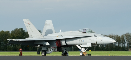 LEEUWARDEN,FRIESLAND,HOLLAND-SEPTEMBER 17: Finnish Air Force Boeing FA-18 Hornet at the �Luchtmachtdagen� Airshow on September 17, 2011 at Leeuwarden Airfield,Friesland,Holland