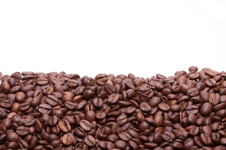Partially filled with roasted coffee beans background with space for text Stock Photo - 14191124