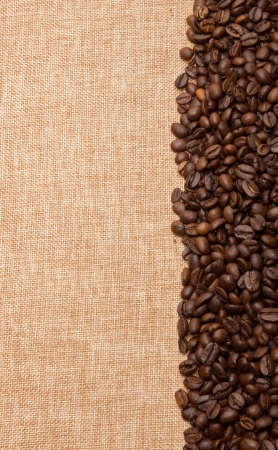 A row of coffee beans on a canvas background with room for text