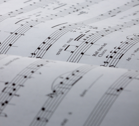 Drums and vocal sheet music, can be used as background photo