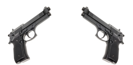 Two Black semi automatic handguns isolated on white background  Stock Photo - 14268399