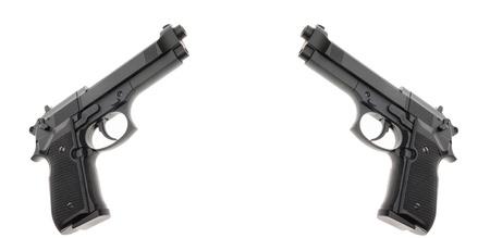 Two Black semi automatic handguns isolated on white background Stock Photo - 14268399
