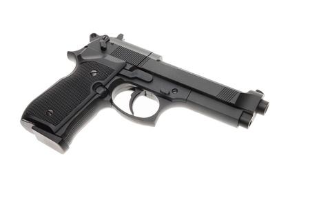 Black semi automatic handgun isolated on white background Stock Photo - 14268403