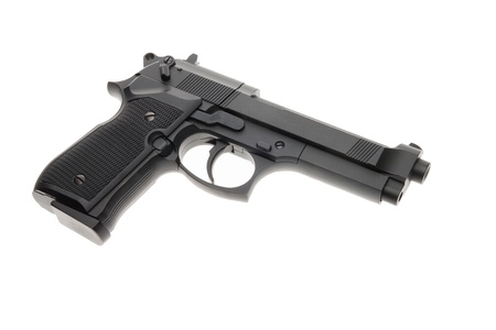 Black semi automatic handgun isolated on white background Stock Photo - 14268403