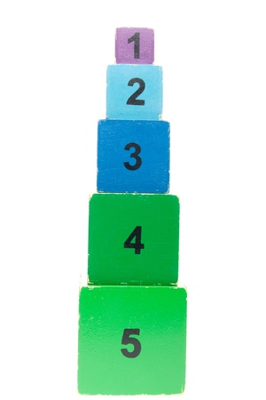 Old colorful and numbered stacking boxes toy photo