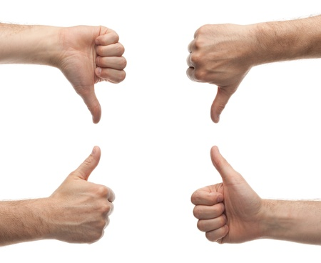 back up: front and back male hands showing thumbs up and down isolated on white background