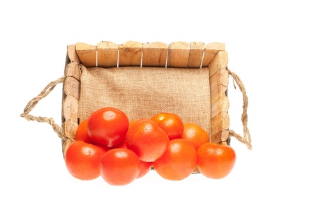fresh tomatoes coming out of a wooden basket on a white background photo