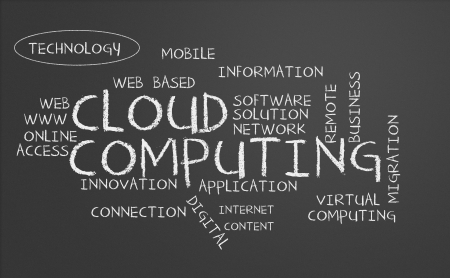 Chalkboard with cloud computing concept photo