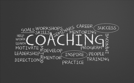 Chalkboard with coaching concept photo