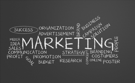 Chalkboard with marketing concept Stock Photo