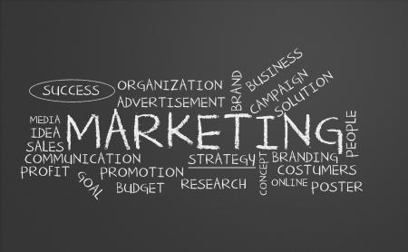 Chalkboard with marketing concept Archivio Fotografico